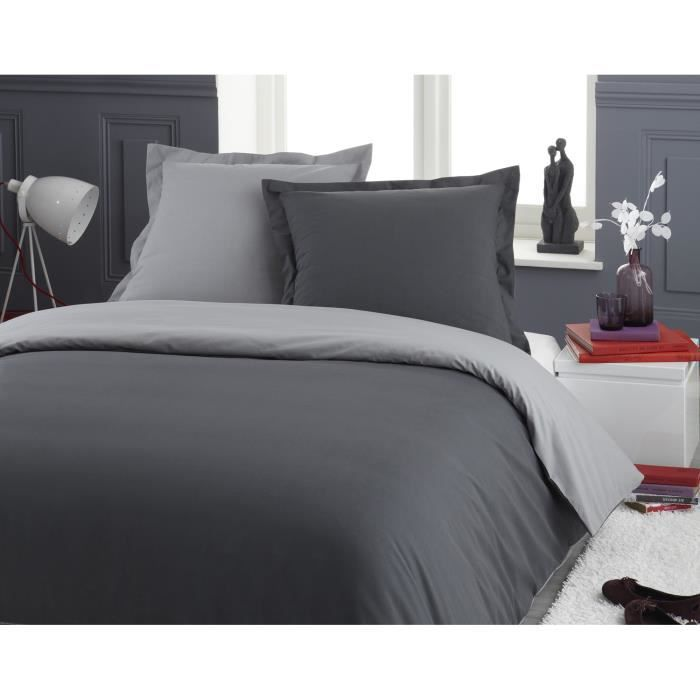 parure housse de couette en 100 coton bicolore gris clair gris moyen 200x200 cm 2 taies d. Black Bedroom Furniture Sets. Home Design Ideas