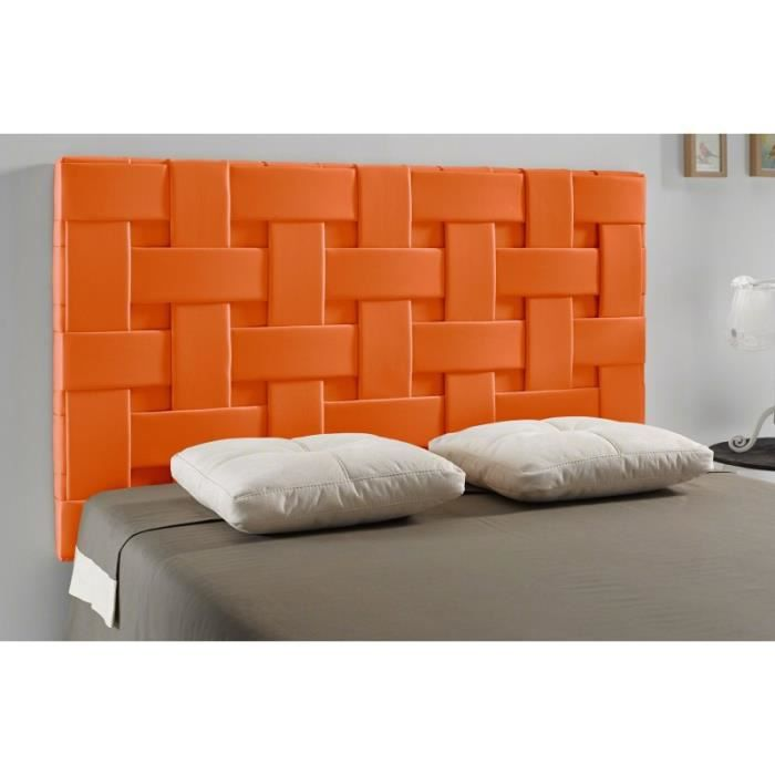 t te de lit tress pu couleur orange mesure lit de. Black Bedroom Furniture Sets. Home Design Ideas