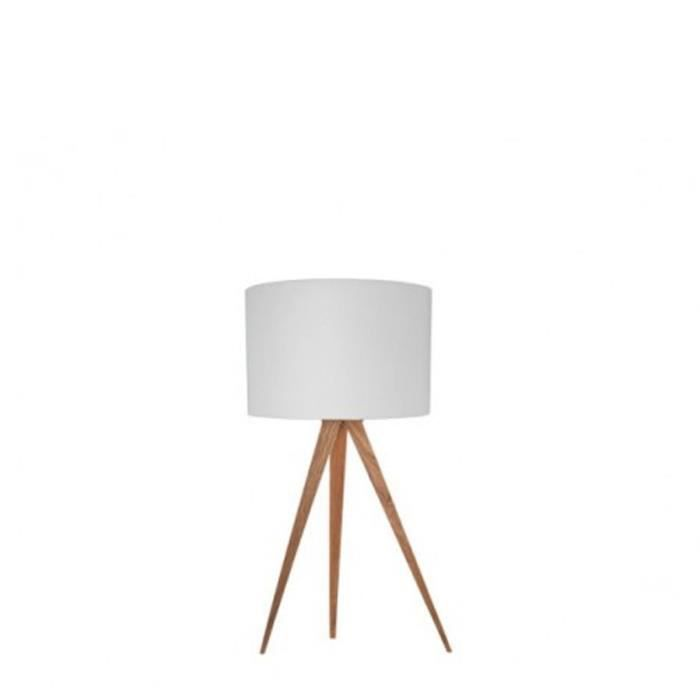 Lampe poser tripod wood mini couleur blanc achat for Lampe de chevet scandinave