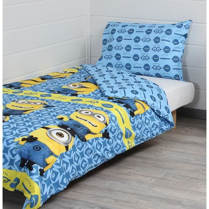 housse de couette minions 200x200 achat vente housse de couette minions 200x200 pas cher. Black Bedroom Furniture Sets. Home Design Ideas