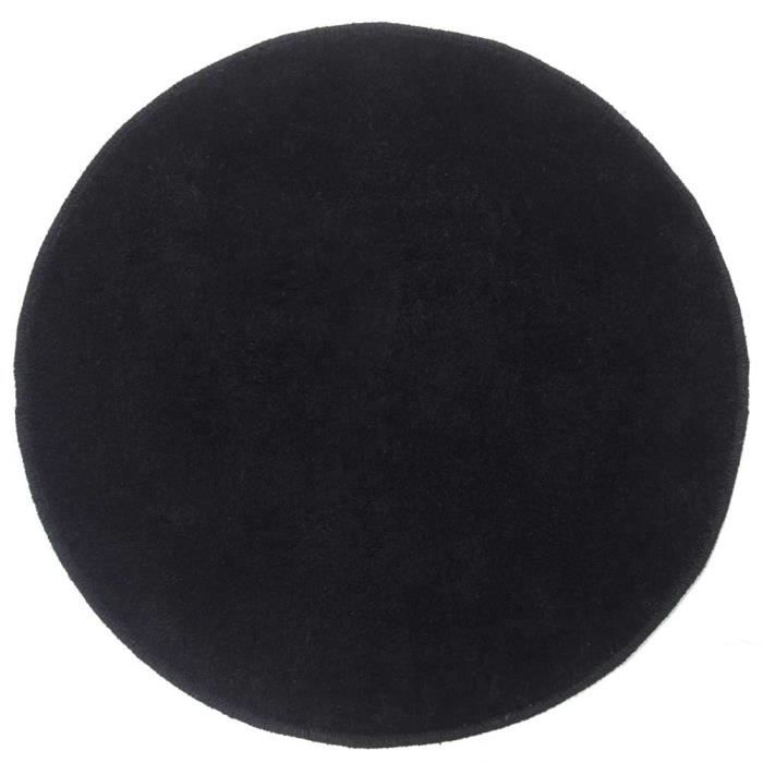 tapis rond tuft coloris noir 70 cm de diam tre achat vente tapis cdiscount. Black Bedroom Furniture Sets. Home Design Ideas