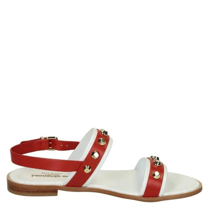 LEONARDO SHOES FEMME T10WHITE ROUGE CUIR SANDALES