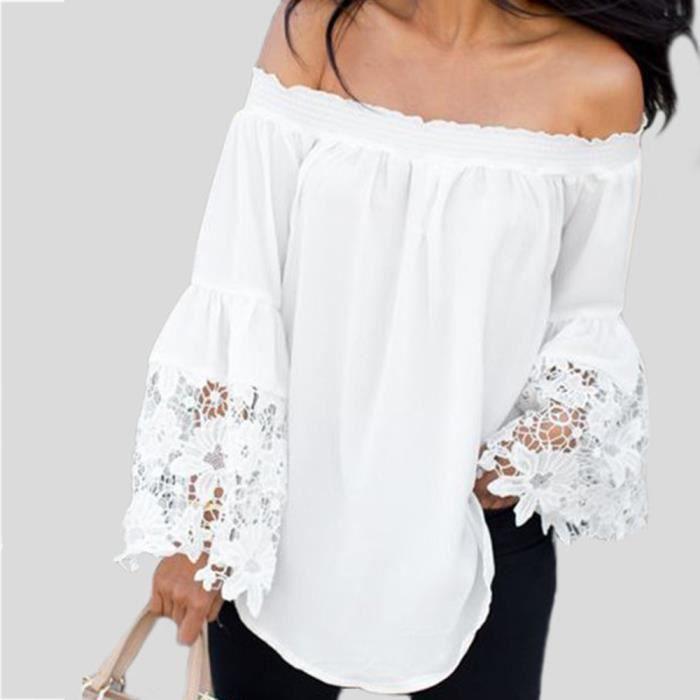 Chemise à encolure en dentelle féminine à manches longues Blouse Débardeurs  *BB