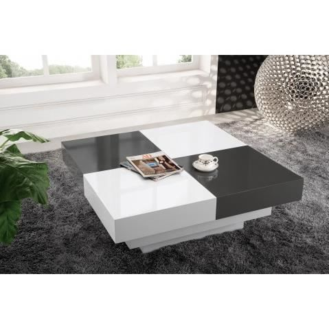 table basse design laque gris et blanc coulissante avec. Black Bedroom Furniture Sets. Home Design Ideas