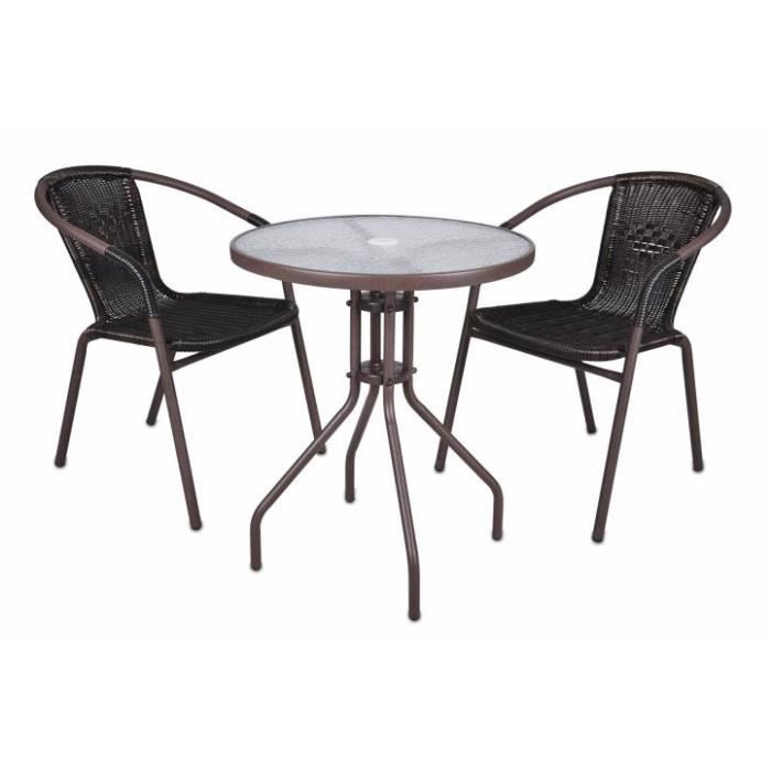 2 chaises bistro empilable table ronde verre achat for Table verre 6 chaises