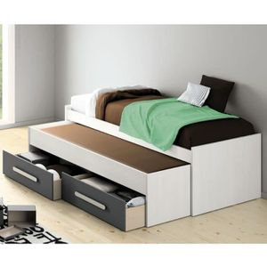 lit gigogne blanc 90x200 achat vente lit gigogne blanc. Black Bedroom Furniture Sets. Home Design Ideas