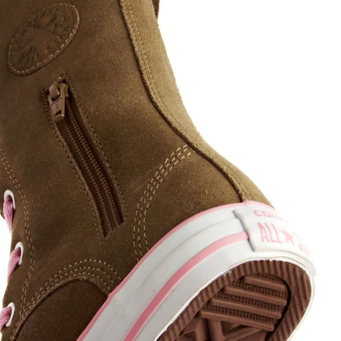 BOTTES CONVERSE ALL STAR LIMITED ZIP SHARON CUIR DAIM MARRON & ROSE