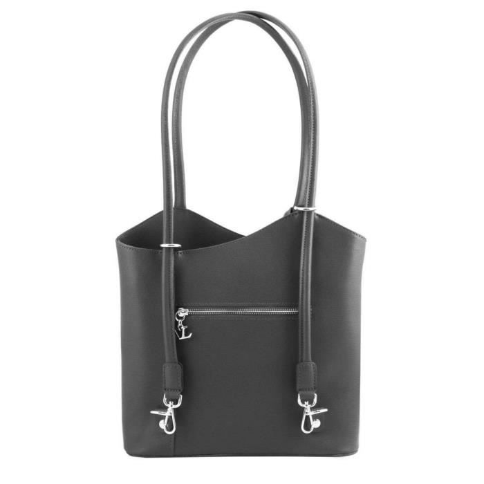 Tuscany Leather - Patty - Sac En Cuir Saffiano Convertible En Sac À Dos - Noir HfOivgayA