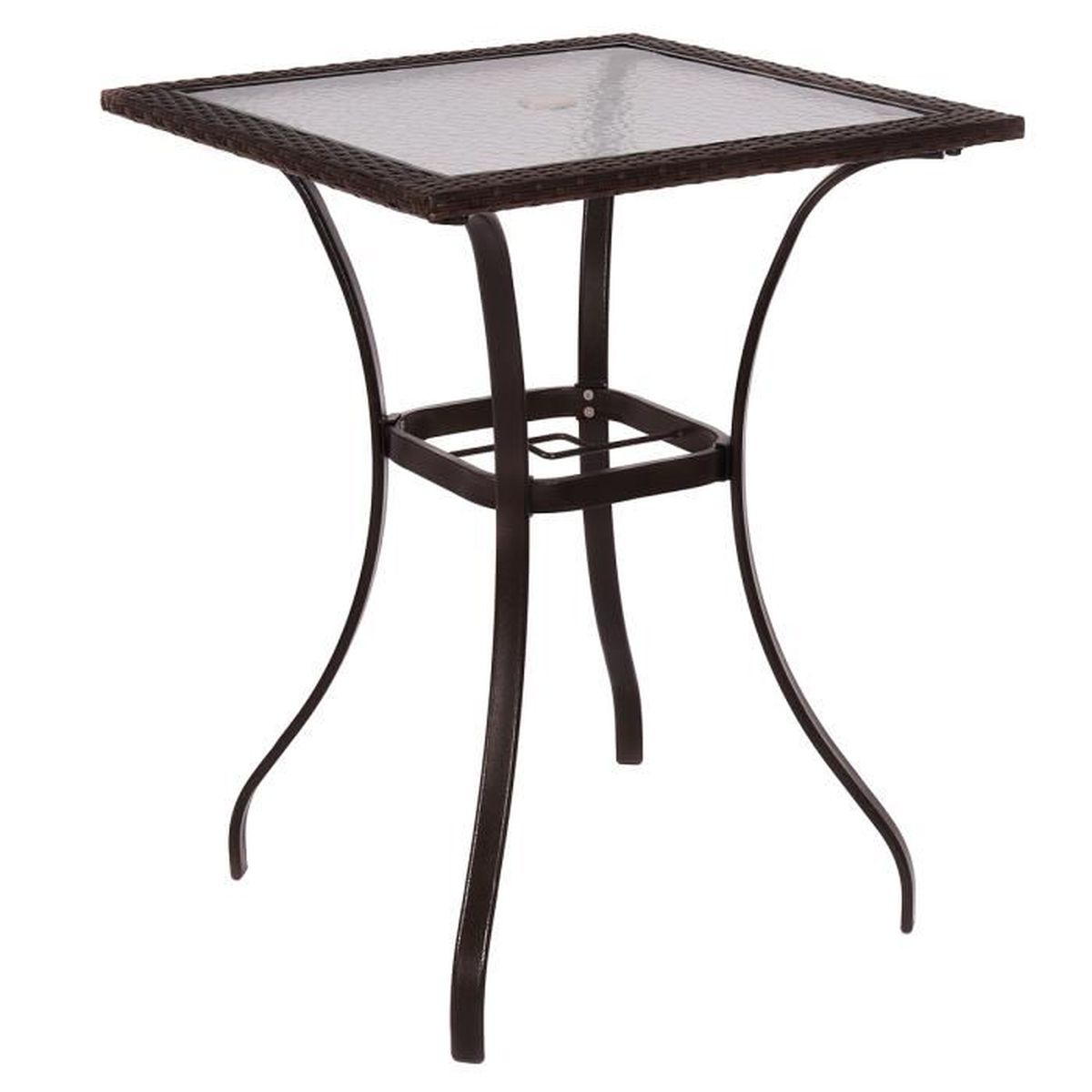 Table carr e en poly rotin la plaque de verre meuble de for Table en rotin et verre