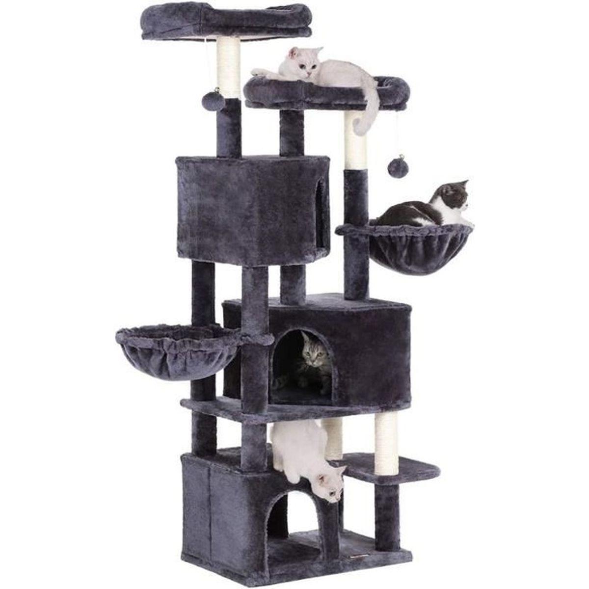 Arbre A Chat A Faire Maison feandrea arbre à chat, hauteur de 164 cm, avec 3 niches, 2