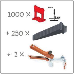 CARRELAGE - PAREMENT Kit 2mm 1000clips+250coins+pince metal Raimondi. P