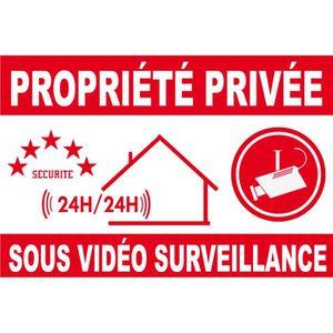 Site s/écuris/é par t/él/ésurveillance Intervention 24H//24H Panneau de Dissuasion Alarme 150 x 100 mm en PVC 4 Trous pour Fixation avec Texte