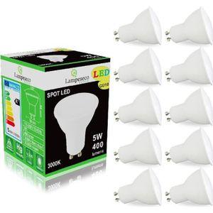 AMPOULE - LED Pack de 10 Ampoules Led GU10 5W Blanc Chaud 3000K