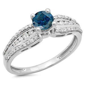 BAGUE - ANNEAU Bague Femme Diamants 0.75 ct  14 ct 585-1000 Or Bl