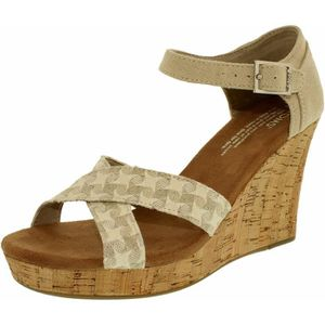 BOTTE TOMS Women's Strappy Wedge Woven Cork Natural Ankl