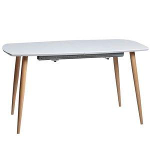 TABLE À MANGER SEULE Table de repas rectangulaire Blanche à allonge - A