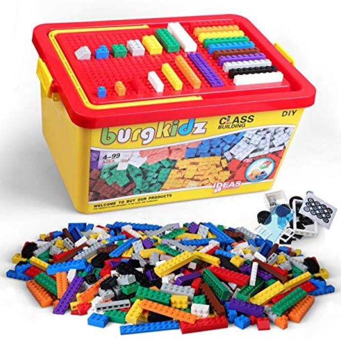 Jeu D'Assemblage NTH0I briques de construction 1020 pièces, 1000 blocs de construction de base en 10 couleurs classiques, 17 formes