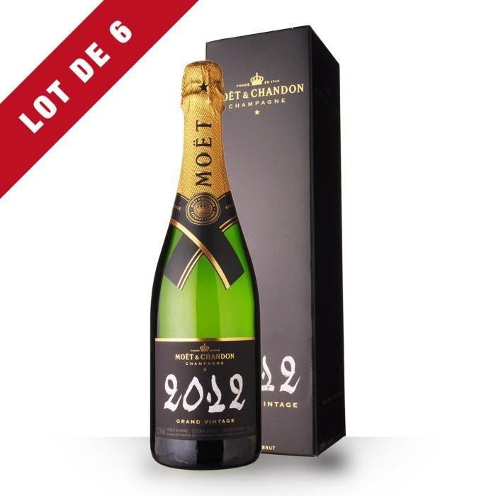 Lot de 6 - Moët et Chandon Grand Vintage 2012 Extra Brut - Etui - 6x75cl - Champagne