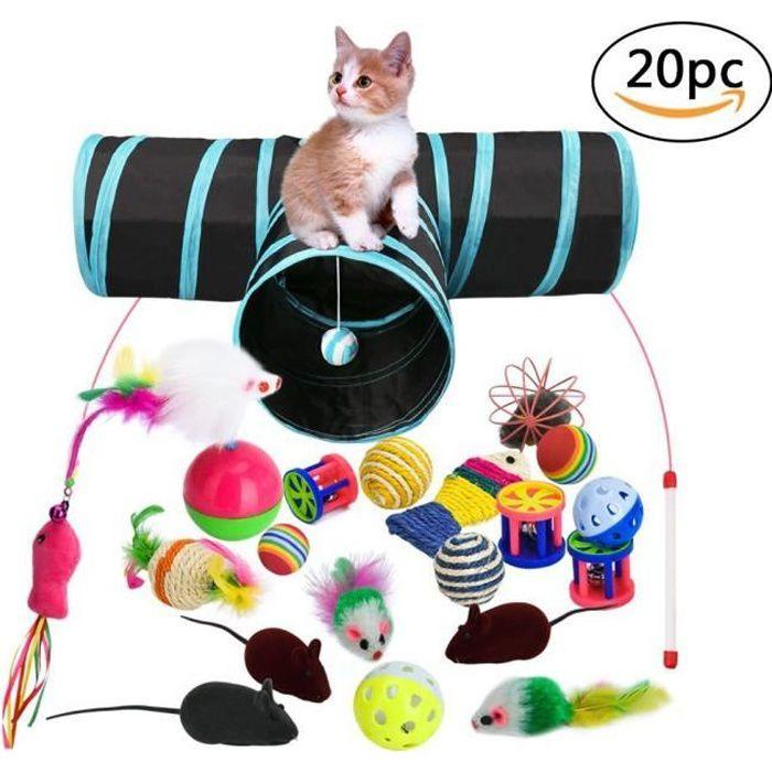 Jouets pour Chats avec Chat Tunnel Jouets,20 Pièces Chaton Jouets Kitten Toys Variété Pack