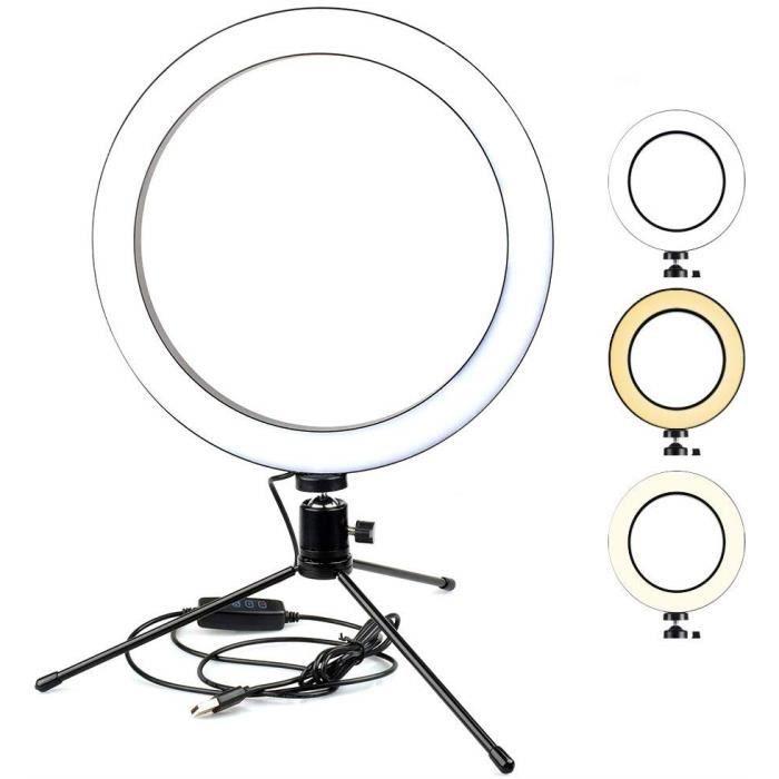10 -anneau de lumière LED avec mini trépied pour YouTube Video Live Stream et maquillage etc, Anneau lumineux de 26 cm avec 3 modes