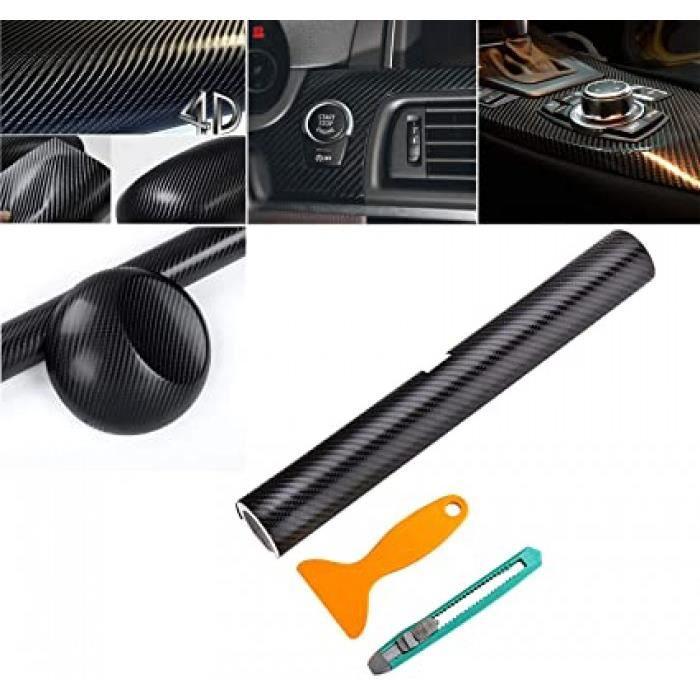 4d autocollant fibre carbone film vinyle(200x30cm)adhésif noir pour voiture auto extérieur et intérieur décoration adhésif feuille d