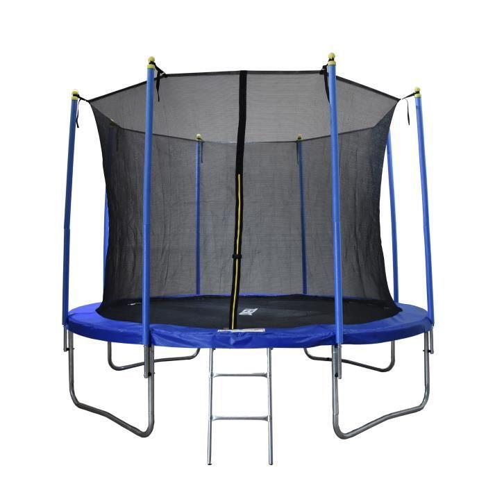 Trampoline 305 cm Bleu TEENO Échelle et filet de protection inclus-Fitness à domicile-Trampoline intérieur / extérieur