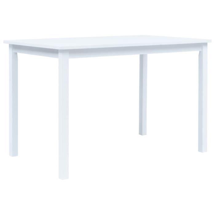 Table de salle à manger Blanc 114x71x75 cm Bois d'hévéa massif -PAI