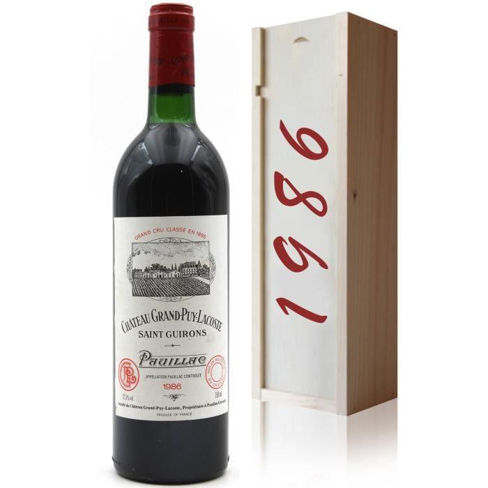 Coffret Château Grand Puy Lacoste 1986 Vin Rouge 75cl AOC Pauillac