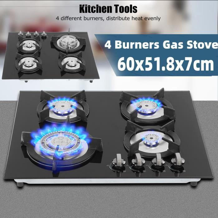 Plaque de cuisson gaz - Cuisinière à Gaz en Verre et émail 4 Brûleurs 60x51.8x7cm HB042