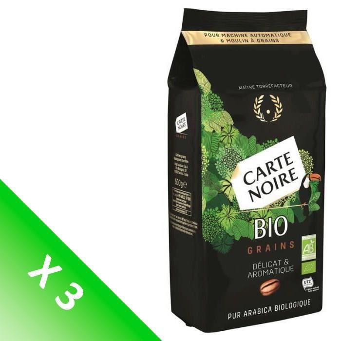 [LOT DE 3] CARTE NOIRE Café en grains - Bio - 500 g