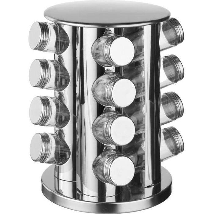 16 pots à épices avec support rotatif - Inox