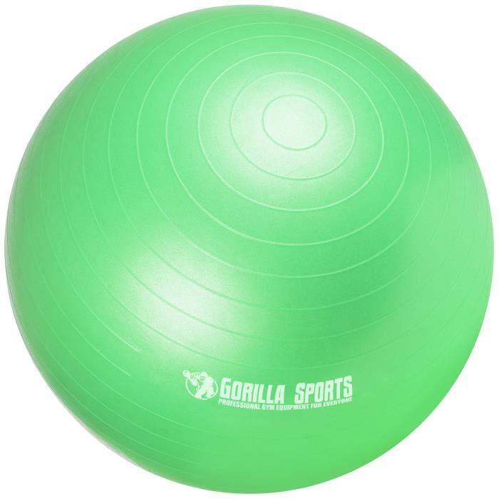 Ballon de gymnastique de couleur vert mat - Taille : 65 cm