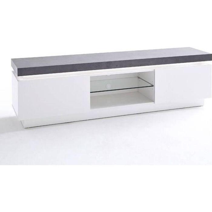 Meuble TV design ATLANTIS laqué blanc mat et béton 2 portes LED blanc inclus blanc bois Inside75