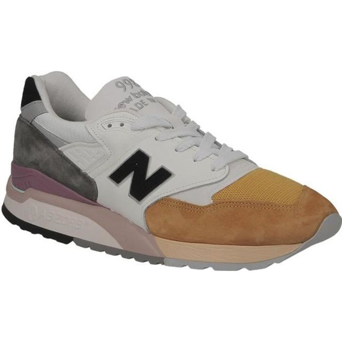 Basket homme New Balance M998 PSD USA blanc, orange et gris.