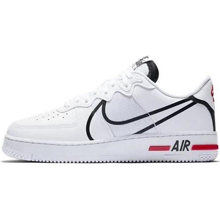 Air Force 1 React CD4366-100 Chaussures de Course pour Homme Femme Blanc Rouge