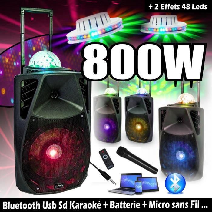 ENCEINTE SONO 800W PORTABLE + USB MP3 SD + BLUETOOTH + RADIO FM + MICRO + 2 JEUX DE LUMIÈRE PA DJ SONO SPORT KARAOKE FITNESS