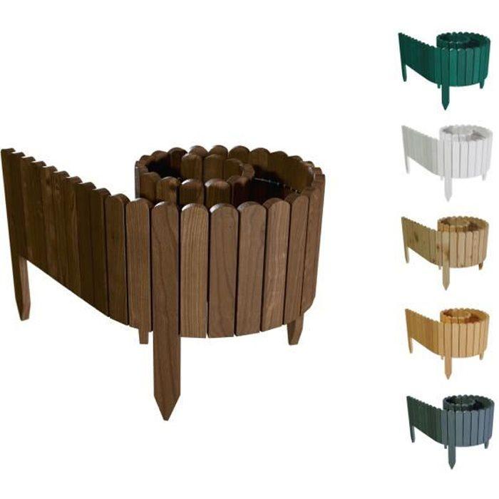 Floranica® Bordure déroulable en bois, 203 cm, délimitation de plates-bandes - imprégnée, Hauteur: 40cm. Couleur : Brun