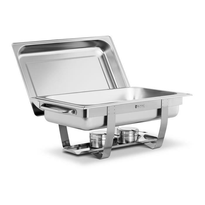 Machine à bain-marie Chafing Dish Réchaud Professionnel Buffet Royal Catering RCDB-1-1P-65 (8 l 1 Bac GN 1-1 2 Brûleurs Inox)