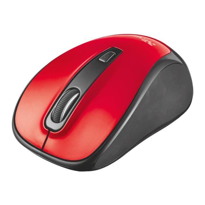 TRUSTi Souris droitiers et gauchers optique 3 boutons sans fil Bluetooth rouge