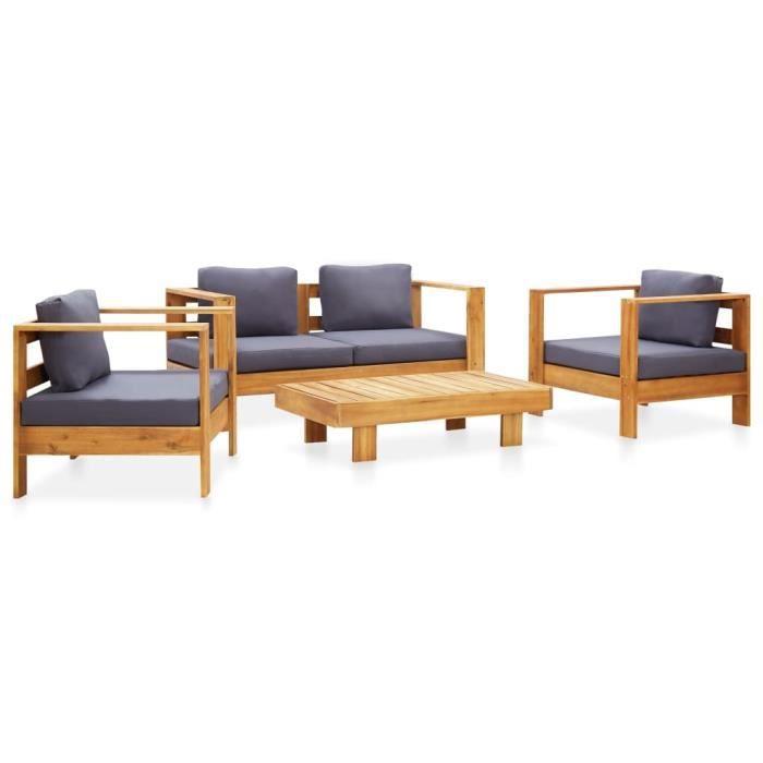 vidaXL Salon de jardin 4 pcs avec coussins Gris Bois d'acacia solide