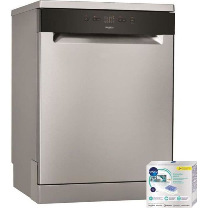 WHIRLPOOL Lave-vaisselle posable INOX 46dB 13 couverts 60cm Moteur Induction Inox