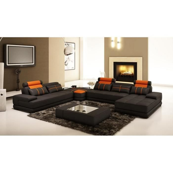 canap d 39 angle panoramique cuir noir et orange achat vente canap sofa divan cuir. Black Bedroom Furniture Sets. Home Design Ideas