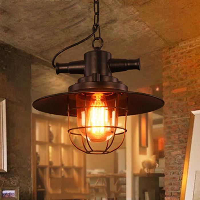 Suspension fer r tro vintage lustre plafonnier lampe for Luminaire suspension industriel