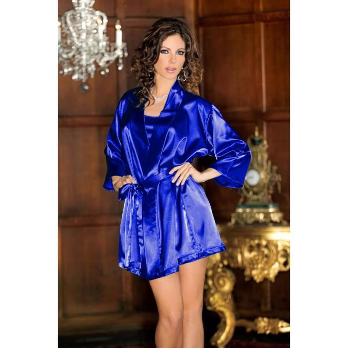 ensemble lingerie nuisette peignoir satin bleu string dentelle sexy sous v tements robe de. Black Bedroom Furniture Sets. Home Design Ideas