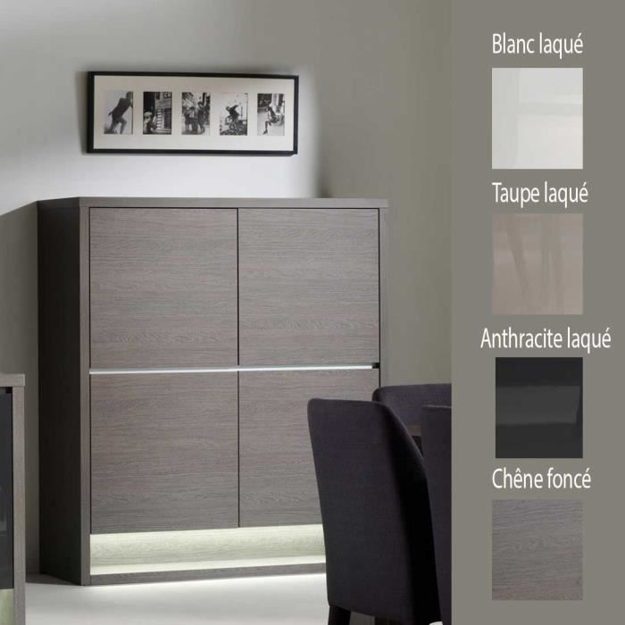 buffet haut couleur ch ne fonc 4 portes contemporain devyn taupe laqu couleur taupe laqu. Black Bedroom Furniture Sets. Home Design Ideas