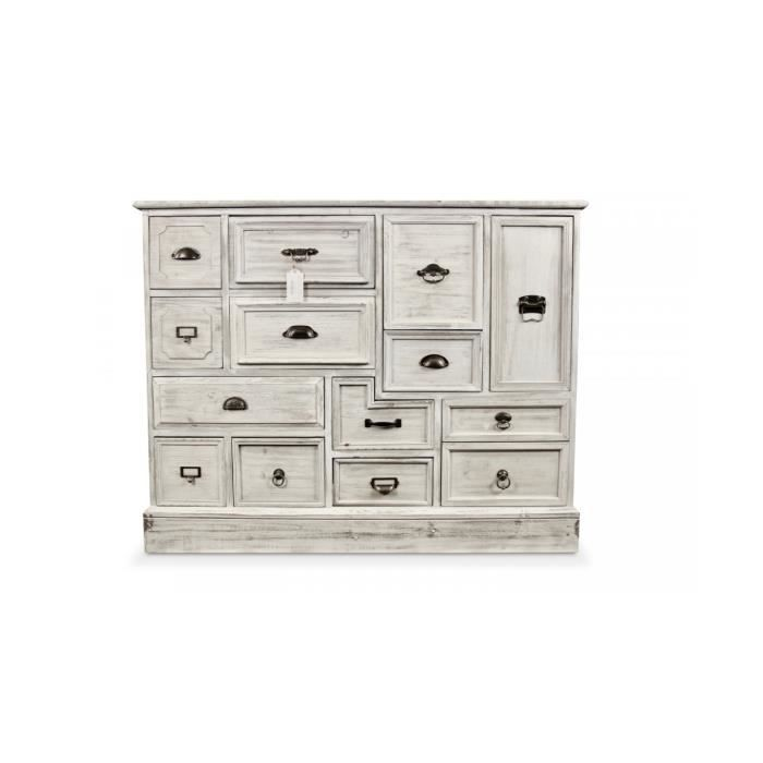 meuble semainier chiffonnier grainetier bois 14 tiroirs ceruse blanc 125x40x99cm achat vente. Black Bedroom Furniture Sets. Home Design Ideas