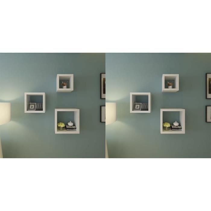 6 Pcs Etageres De Rangement Murales Sous Forme De Cube Blanc Achat Vente Etagere Murale 6 Pcs Etageres De Rangement Cdiscount
