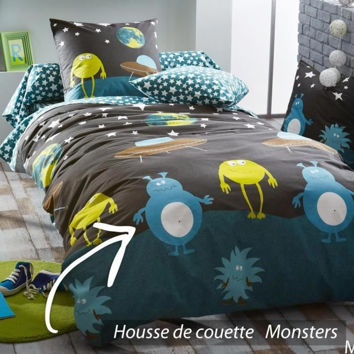 housse de couette 200x200 cm 100 coton monsters achat vente housse de couette cdiscount. Black Bedroom Furniture Sets. Home Design Ideas