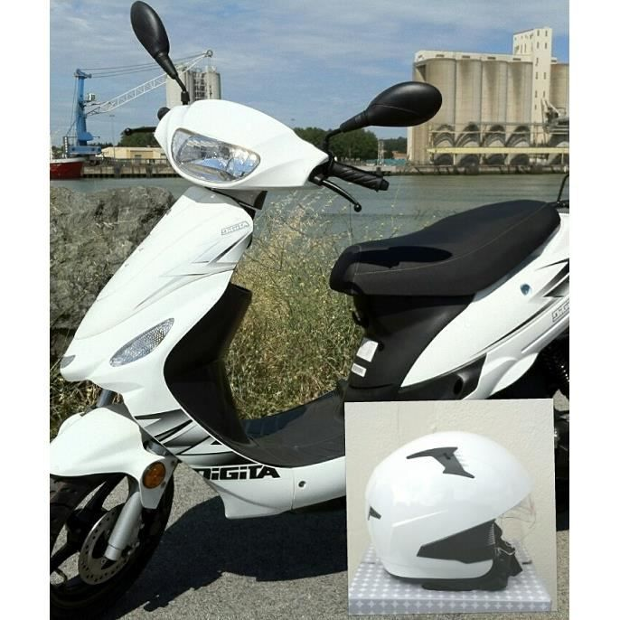 scooter 50cc blanc 2 temps grosses roues casque achat. Black Bedroom Furniture Sets. Home Design Ideas