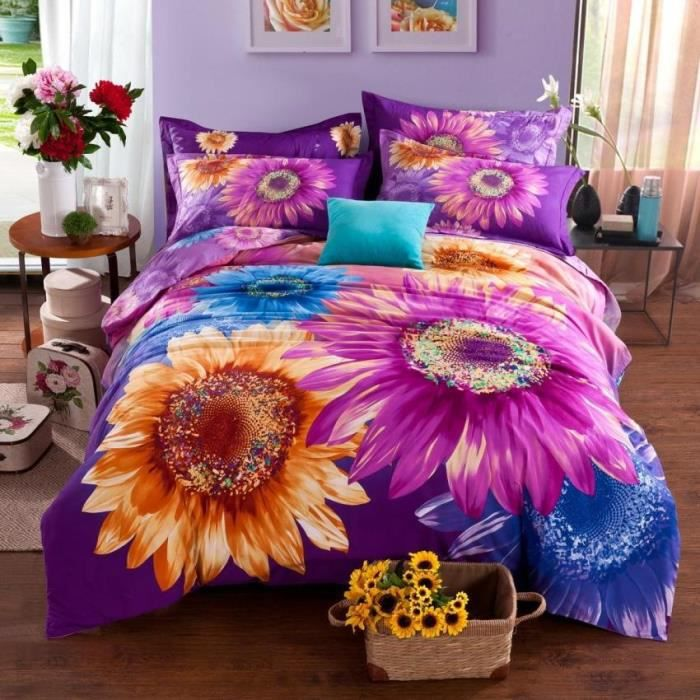 parure de lit tournesols color s belle et brillant 3d effect 100 coton 220 240 cm 4 pieces. Black Bedroom Furniture Sets. Home Design Ideas